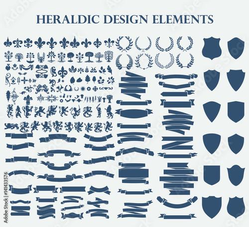 Obraz na plátne Heraldic Design Elements set bundle