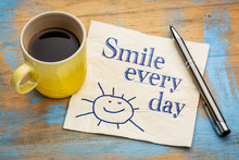 Smile Every Day Cheerful Text On Napkin