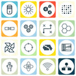 Set Of 16 Robotics Icons. Includes Wireless Communications, Mainframe, Mechanism Parts And Other Symbols. Beautiful Design Elements.