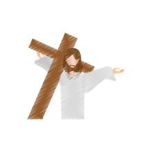 Drawing Jesus Christ Carries Cross Vector Illustration Eps 10