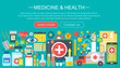 Medicine and health design concept set with healthcare medicine devices infographics template design, web header elements, poster banner. Vector illustration.