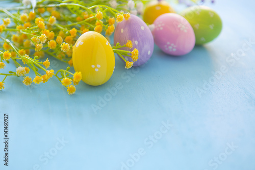 Garden Poster Narcissus Easter eggs and flowers on blue wooden table background.