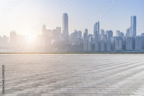 Foto op Canvas Stad gebouw cityscape and skyline of chongqing in cloud sky on view from empty floor
