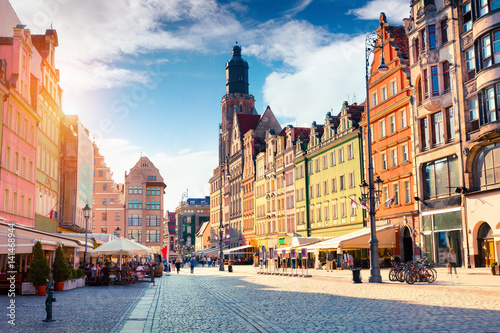 Colorful morning scene on Wroclaw Market Square. Fototapeta