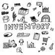 Hand draw inventory business doodles icon set for global transportation import,export and logistic business concept.