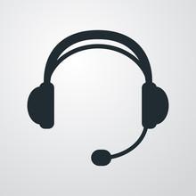 Icono Plano Auriculares Con Microfono En Fondo Degradado