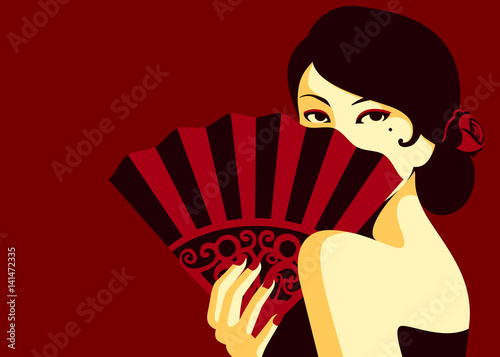 Glamorous flamenco fashion woman sensual look hiding behind fan minimal flat des Canvas Print