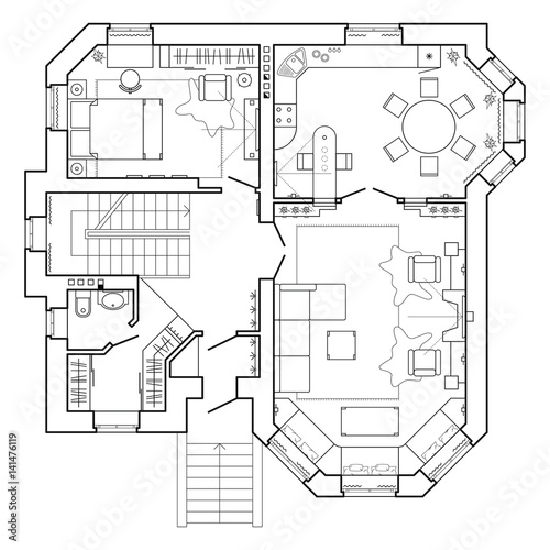 Layout Of The Apartment With Furniture In Drawing View Top Floor A Pool Table Living Room And Kitchen Plans