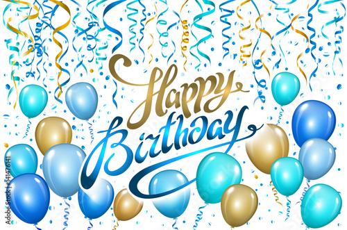 Balloons Happy Birthday On Black Gold Blue Balloon Sparkles