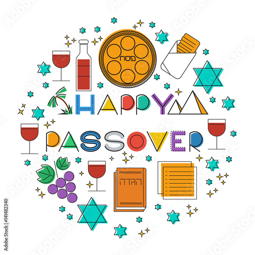 Happy passover jewish holiday greeting card elements set vectot happy passover jewish holiday greeting card elements set vectot linear illustration m4hsunfo