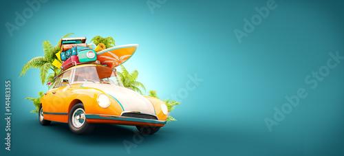 Fotobehang Cartoon cars summer travel illustration