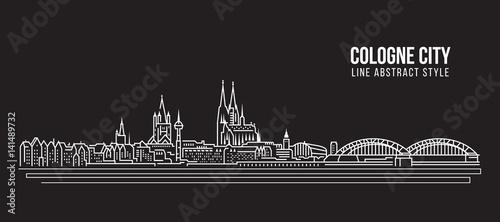 Cityscape Building Line art Vector Illustration design - Cologne city