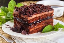 Chocolate Cake Slice, Layers, Cream, Chocolate Chips, Still Life, Beautiful, Exquisite, Mint