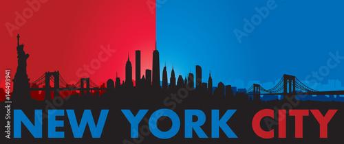 Obraz na plátně Blue Red New York City Skyline Vector