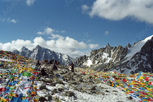 Wall Murals Nepal Tibetan and Indian pilgrims on the Drolma La Pass with altitude 5650 meters above sea level is the highest point of the ritual route around the Sacred Mount Kailash in Western Tibet.