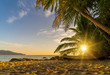 canvas print picture - Surin beach at sunset in Phuket island