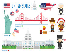 USA Flat Icon Set Travel And T...