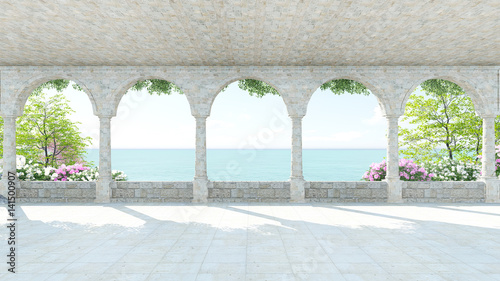 Terrace roman style sea view with flower in Italy on Holiday front