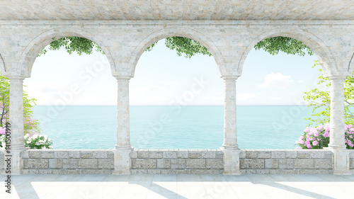 Terrace roman style sea view with flower in Italy on Holiday front zoom