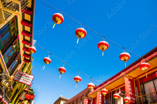 San Francisco SAN FRANCISCO - September 20, 2015: Beautiful red Chinese lanterns in Chinatown of San Francisco, California, USA