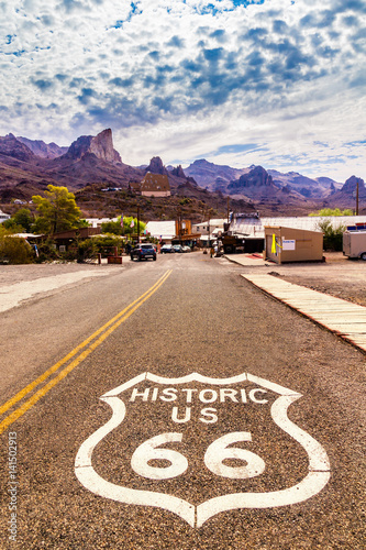 Keuken foto achterwand Route 66 Historic US Route 66 with highway sign on asphalt and a panoramic view of Oatman, Arizona, United States. The picture was made during a motorcycle road trip through the south western states of USA.