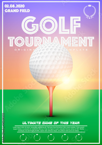 poster template with golf tournament cup and trophy advertising