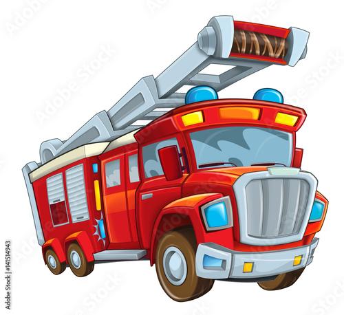 Fototapety, obrazy: Cartoon firetruck on white background - illustration for the children