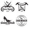 Set of vintage logo badge emblem or logotype elements for shoemaker shoes shop and shoes repair.