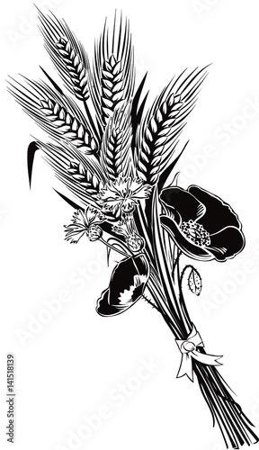Foto op Canvas Bloemen zwart wit Bunch of ears of wheat and poppy flowers and cornflower.