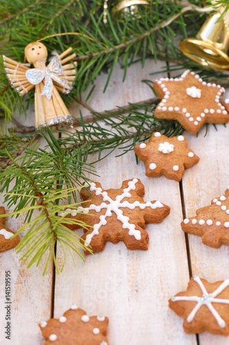Gingerbread Christmas Cookies With Green Pine Branch Needles With