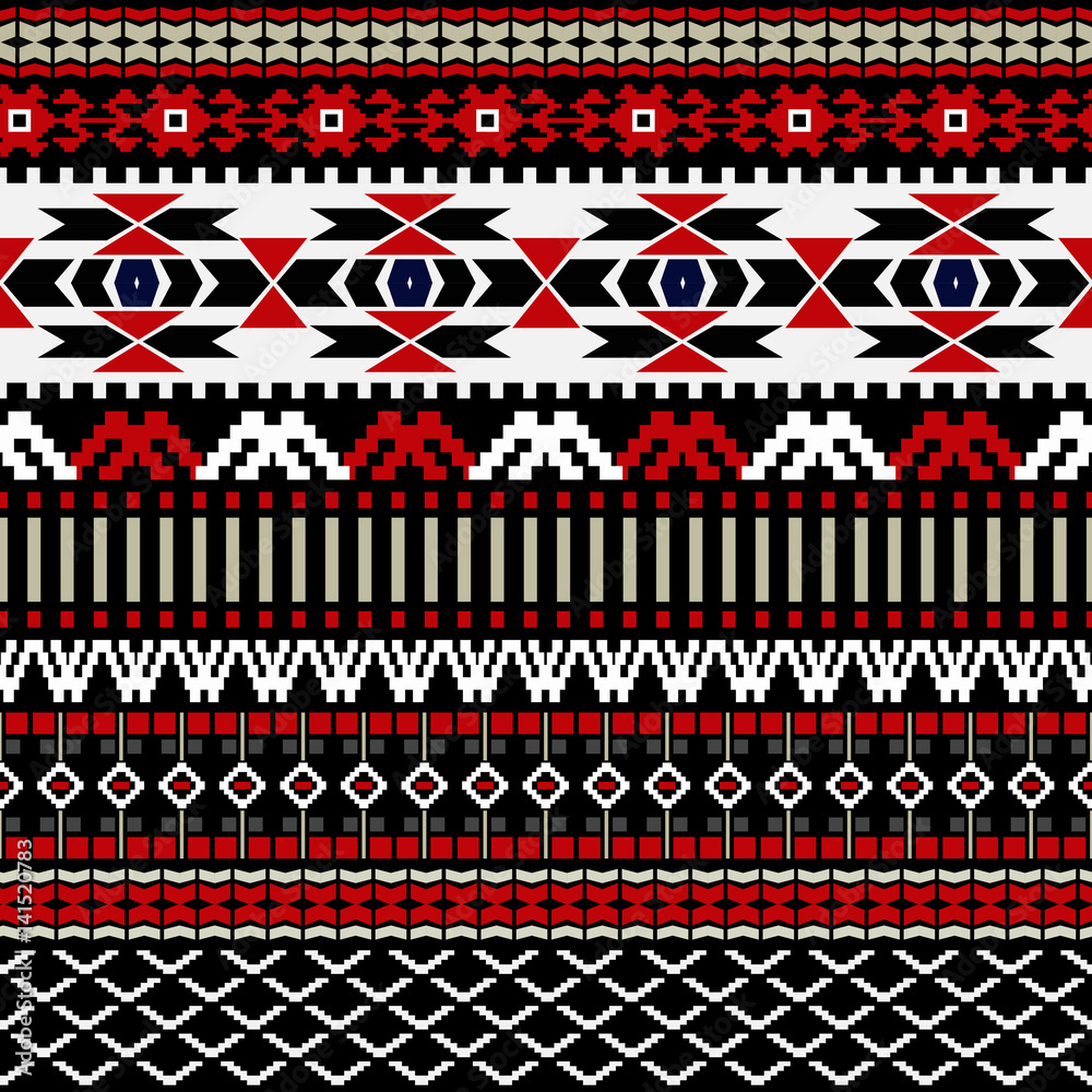 Geometric ornament for weaving, knitting, embroidery, wallpaper, cards, textile. Ethnic pattern