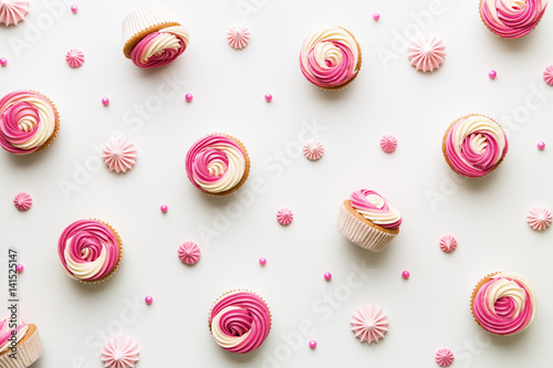 Cupcake background on white Wallpaper Mural