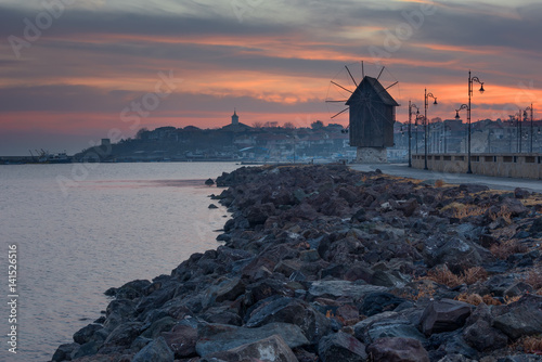Old windmill in the ancient town of Nesebar in Bulgaria Plakat
