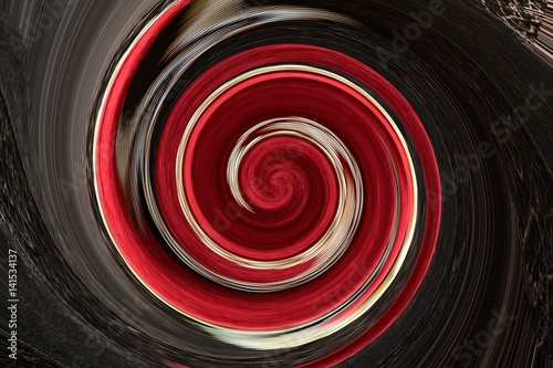 Soft wool of chocolate and red color is twisted into a fantasy spiral Wallpaper Mural