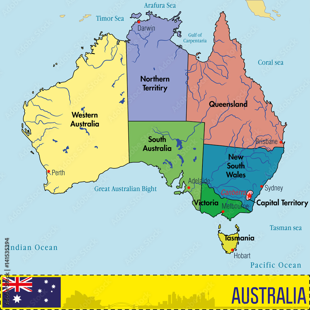 Australia map with regions and their capitals Foto, Poster ...