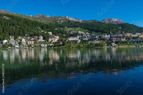 Photo Stands View of the town of St. Moritz, Switzerland