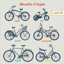 Bicycle Types In Colorful Vect...