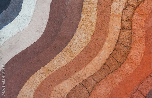 Fototapeta Form of soil layers,its colour and textures,texture layers of earth