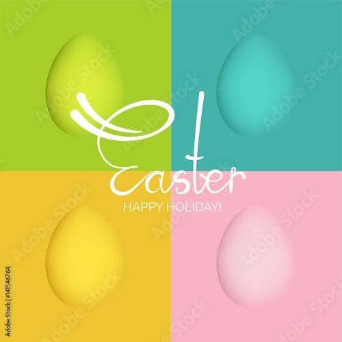 Fotografie, Obraz  Colorful Happy Easter greeting card with eggs and calligraphic text