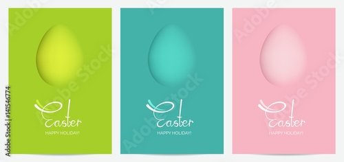 Fotografie, Obraz  Colorful Happy Easter greeting cards with eggs and calligraphic text