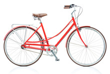 Stylish Female Red Bicycle Iso...