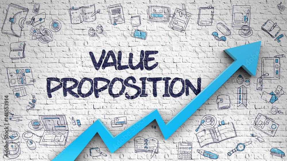 Fototapeta Value Proposition Drawn on White Brick Wall. 3d.