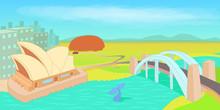 Australia Horizontal Banner, Cartoon Style
