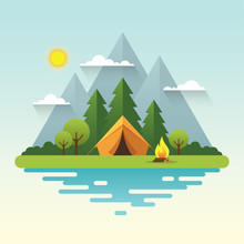 Sunny Day Camping Illustration In Flat Style
