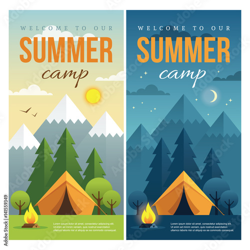 Leinwand Poster Day and night summer camp banners