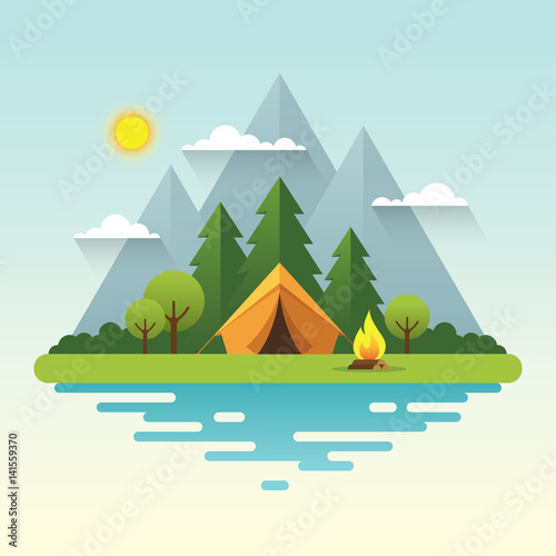 Sunny day camping illustration in flat style Fototapet