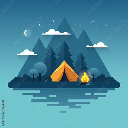 Cuadros en Lienzo Night camping illustration in flat style