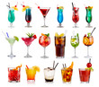 canvas print picture - Set of classic alcohol cocktails isolated