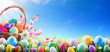 canvas print picture Easter Eggs In Basket And On Meadow