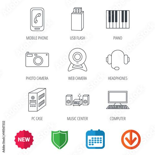 Photo camera, headphones and Usb flash icons  PC case